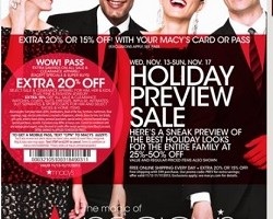 Macy's Holiday Sale - Pre-Black Friday. 25-50% Off