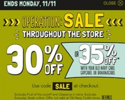 Old Navy Pre-Black Friday Sale 2013 – 30% OFF Throughout the Store